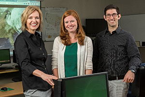 UNT doctoral student Britt-Janet  Kuenanz (left) and Laura Siebeneck and Ronald Schumann, faculty members in  UNT's Department of Emergency Management and Disaster Science