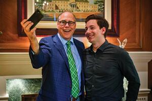 President Neal Smatresk and  Ethan Waldrip take a selfie.