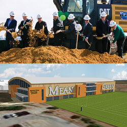 Top: Groundbreaking for the new soccer and track and field stadium. Bottom: Rendering of the new indoor practice facility.