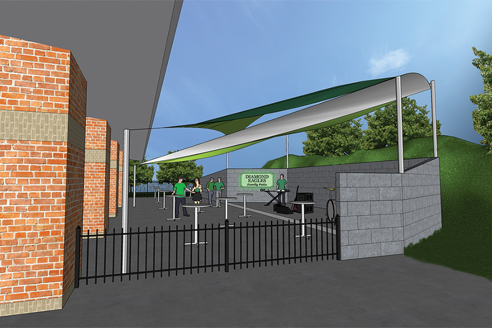 a rendering of the Diamond Eagles Family Patio at the UNT Alumni Pavilion.