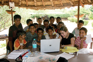 While doing research in 2007 on the role of education in preventing child trafficking, Patricia Aliperti ('99, '02 M.Ed.) visited with rescued children at Bal Ashram Rehabilitation Center.