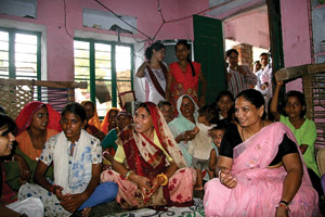 Patricia Aliperti ('99, '02 M.Ed.) also visited with a women's group from a child-friendly village in India.