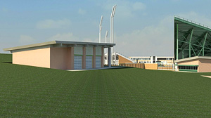 A rendering by HKS Inc. Architects shows the alumni pavilion that will be built at the new football stadium.
