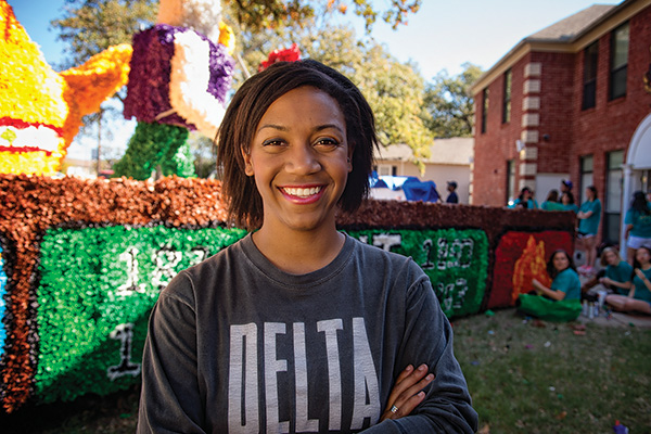 Alyssa Dixon, a senior development and family studies major, has been active in student organizations since her freshman year, pledging Delta Gamma sorority and founding the human rights group Invisible Children. (Photo by Angilee Wilkerson)