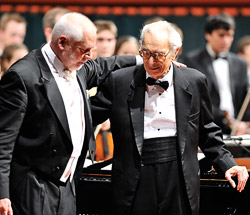 Conductor Russell Gloyd ('71) and Dave Brubeck take a bow after one of two sold-out performances. (Photo by Michael Clements)