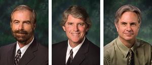 From left to right, Warren W. Burggren, Michael Monticino and James Meernik