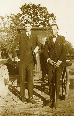 J.C. Matthews ('25) (left) as a student in the 1920s.