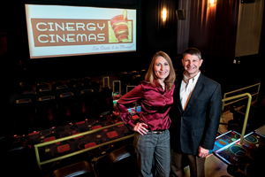 Jamie ('96, '96 M.S.) and Jeffrey Benson ('92, '92 M.S.) developed Cinergy Cinemas, a theater concept that combines family entertainment with movie going. (Photo by Angilee Wilkerson)