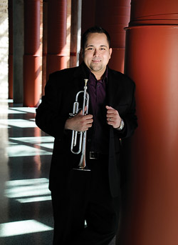 Duane Hargis ('07) with trumpet  (Photo by Angilee Wilkerson)