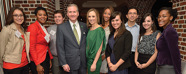 The Ryans (center) are pictured with Emerald Eagle Scholars Beatriz Peña, Joanie Paley, Kevin Banke, Autumn Grisby, Sarah Reynolds, Rudy Reynoso, Allysse Fisher-Shank and Salome Clarke. (Photo by Michael Clements)
