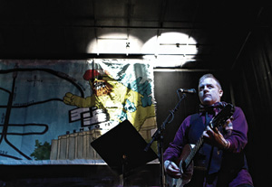 """Cited as one of the """"elder statesmen of sorts of Denton's music scene"""" by The New York Times, songwriter and Baptist Generals frontman Flemmons is the founder of the 35 Denton indie music festival. (Photo by Thorpe Griner)"""
