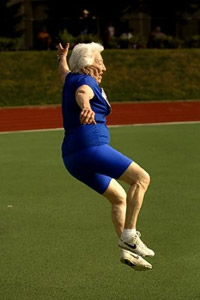 "Beauchamp demonstrates her ""jump and kick"" at the National Senior Olympic Games in Pittsburgh in 2005."