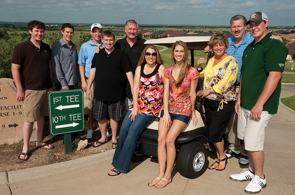 The Martin family at the 2009 Zeke Martin Letterman Golf Classic in June, (left to right) Steve Martin II, Blake Martin, Mike Martin, David Martin, Steve Martin, Debbie Martin, Mandy Rainbolt Martin ('08), Judy Martin, Gary Martin and Kris Martin. (Photo by Michael Clements)