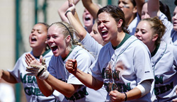 UNT's Mean Green softball team. (Photo by Rick Yeatts)