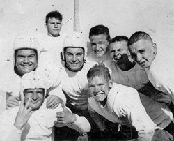 Doug Lord (above center, with helmet) is a North Texas alumnus featured in the &ldquo;Mighty Mites&rdquo; segment of KERA&rsquo;s <em>Nowhere But Texas 2</em>.