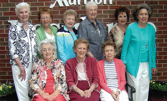 Pictured are, front row from left, Gwynn Sandlin Range, Jean Harper Blunt and Yvonne McMurray Slaughter; back row from left, Mary Massey Morgan, Dorothy King Fleischhauer, Alma Taylor Steele, Betsy Wright Gandy, Jane Wilson Oliphant and Sherry Hill Campbell.