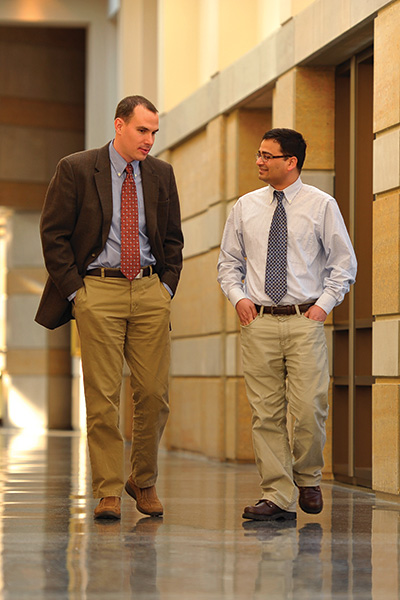 Jason Quinn ('10 Ph.D.) and Madhav Joshi ('10 Ph.D.) (Photo by Matt Cashore/University of Notre Dame)