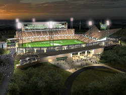 Computer rendering of the new stadium at night with stadium lights on.
