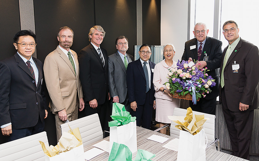 From left, Wanarat; Burggren; Michael Monticino, vice president for advancement; Art Goven, professor and interim dean of the College of Arts and Sciences; Charnvit Krairiksh, deputy director general, Thai Office of the Civil Service Commission; Porpun Waitayangkoon, College of Education alumna and president of the Thai Ministry of Education, Institute for Promotion of Teaching Science and Technology; Rawlins; and Nader. (Photo by Alis Jaroonsriwattana)