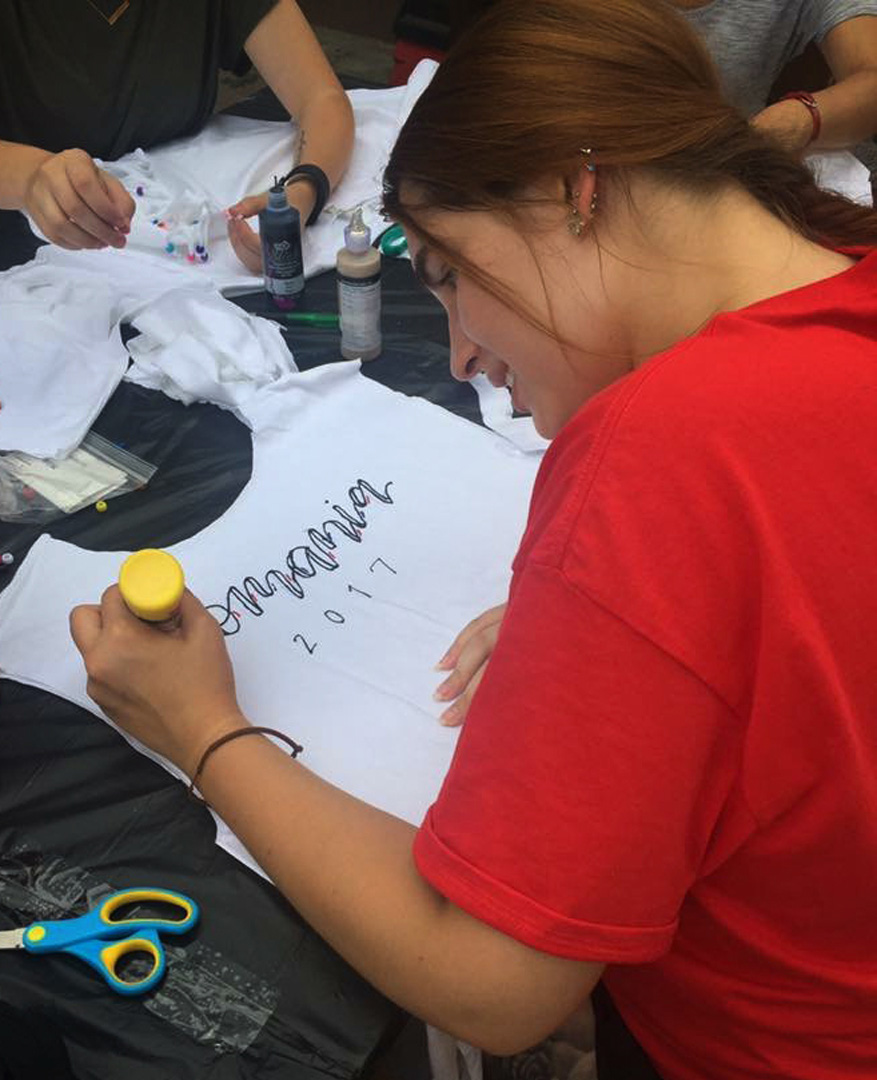 Neisig creates a shirt during her study abroad trip to Romania in 2017. The trip, she says, was life-changing. Those experiences are going to stick with me the rest of my career.