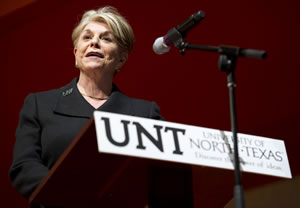 President Gretchen M. Bataille speaks to the audience before the start of the Republican gubernatorial debate. (Photo by Gary Payne)