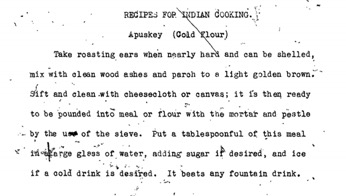 Apuskey recipe from oral history of Lena Benson Tiger