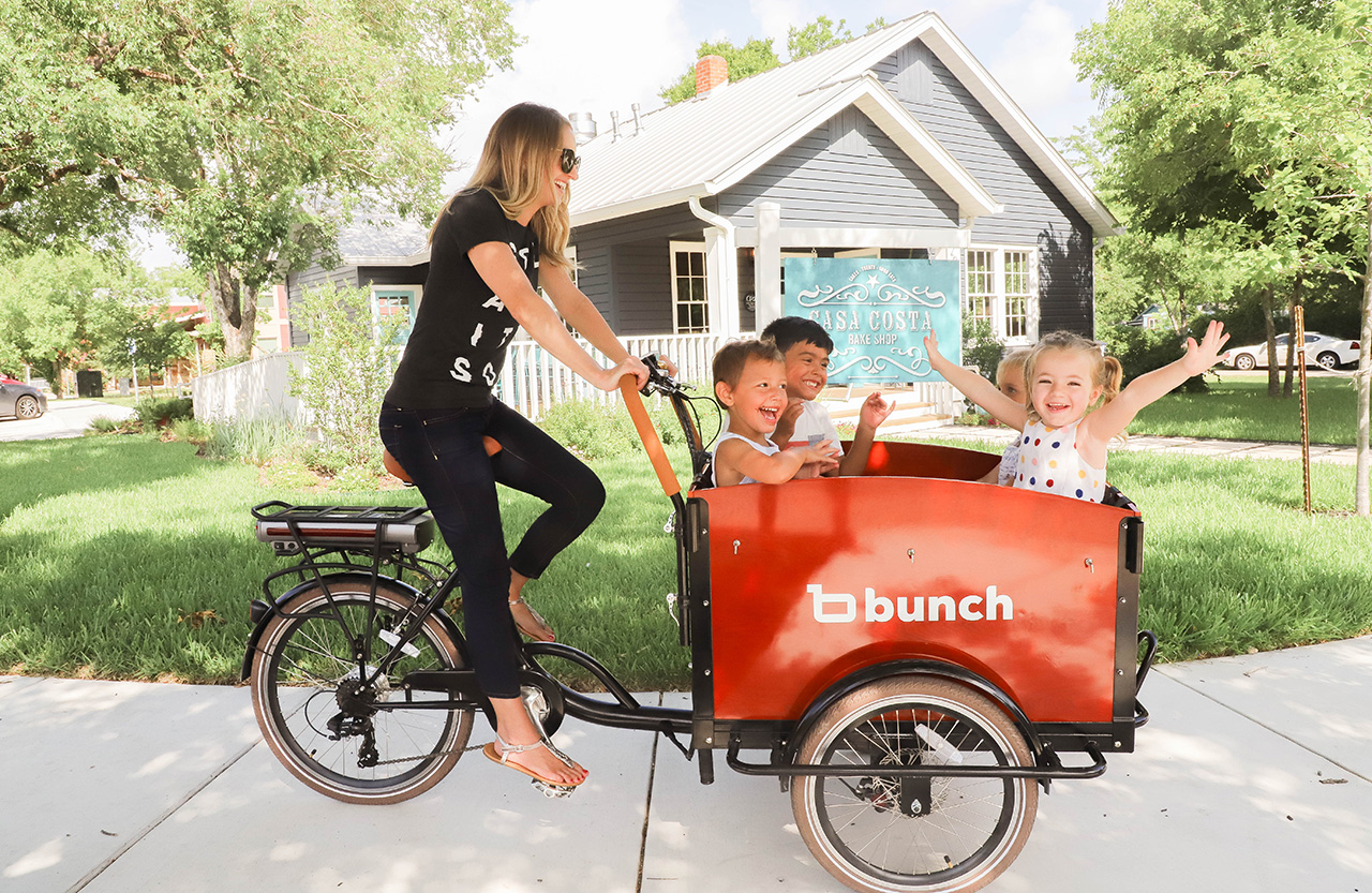 Bunch bicycles allow children to ride in a box attached to the front of the bike.
