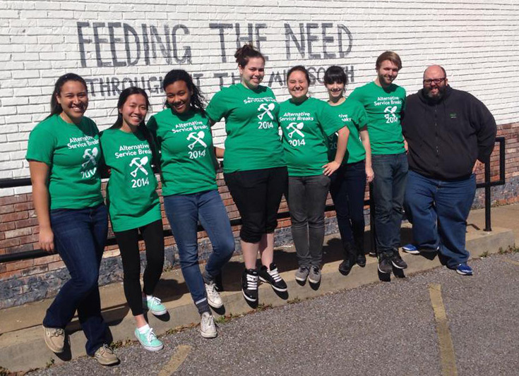 Chris Welhausen ('16), second from right, volunteered at a food bank in Memphis in 2014 as part of UNT's Alternative Service Breaks program. He also volunteered at an orphanage in Nepal in 2013.