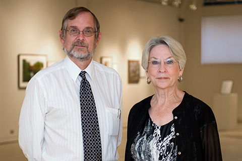 Alan Lee Birkelbach ('78) and Jan Seale ('69 M.A.) (Photo by Gary Payne)