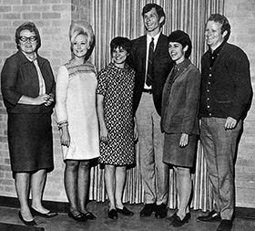 At left, Berger is pictured as a sponsor of the Student Art Education Association in the 1968 <em>Yucca.</em>