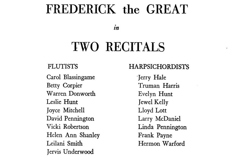 Fredersich the Great recital list of performers