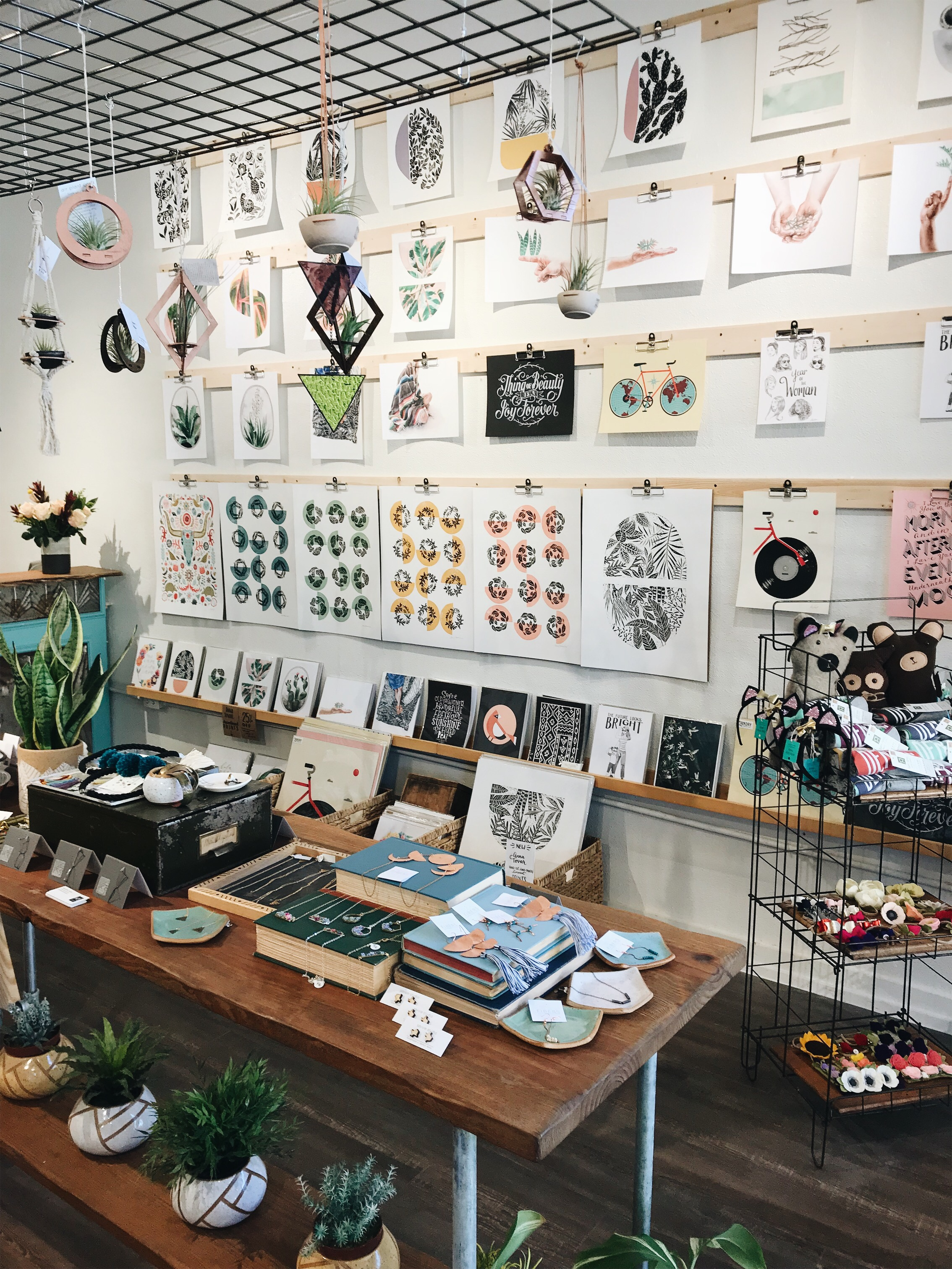 Handmade crafts on display at The DIME Store