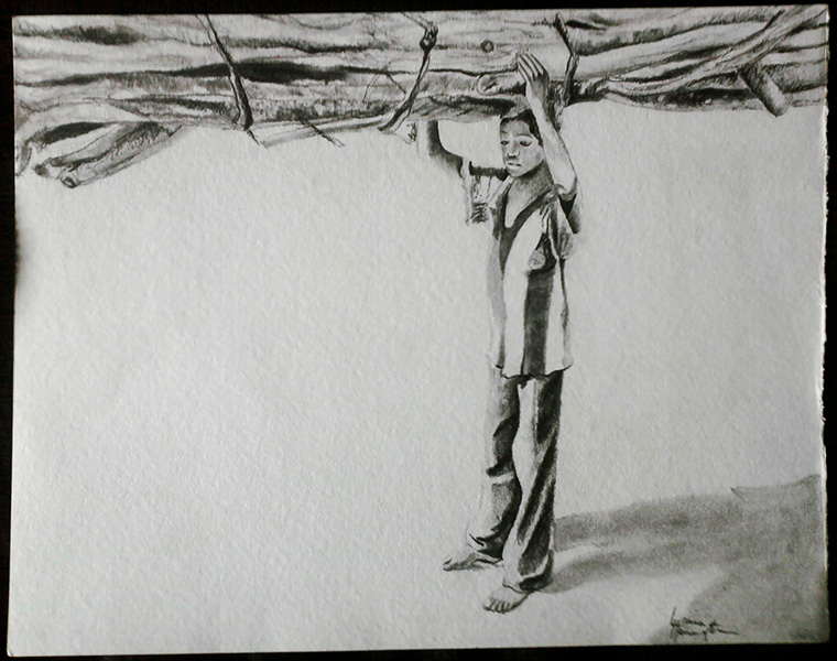"""Laura Harrington's """"Boy Carrying"""" Forest, 54"""" x 24,"""" watercolor."""