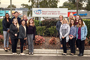 UNT students visited the Royal Institute for Deaf and Blind Children in Sydney, Australia, during a study abroad trip this summer. (Photo by Pamela Peak)