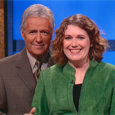 Jamie Thomson with Alex Trebek (images courtesy of Jeopardy! Productions)