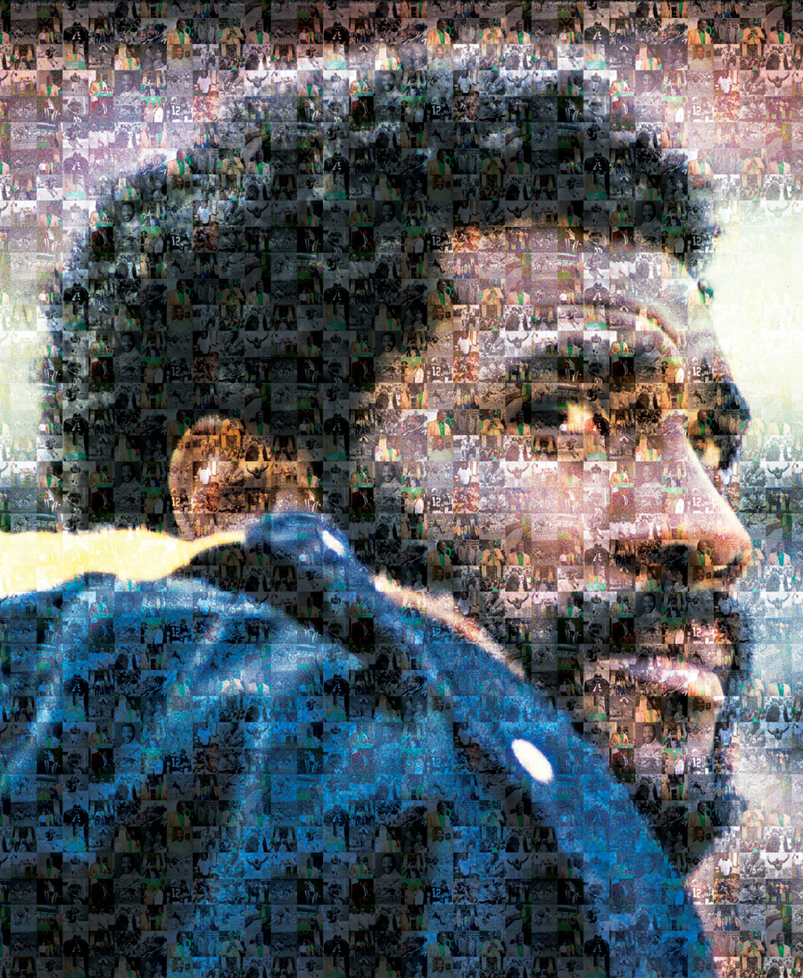 Joe Greene (mosaic of UNT photos  and photos courtesy of the Pittsburgh Steelers)