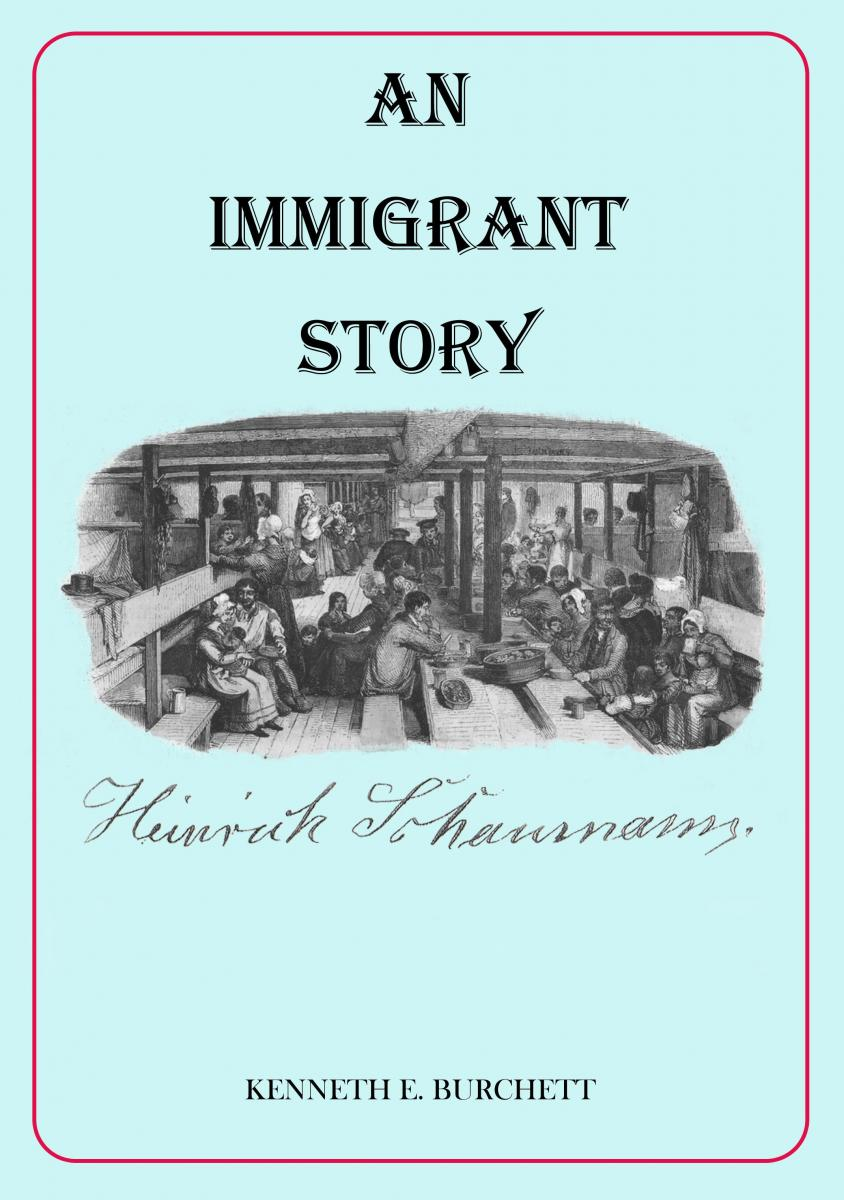 "Photo of book cover of ""An Immigrant Story"" with illustration of immigrants in a ship"