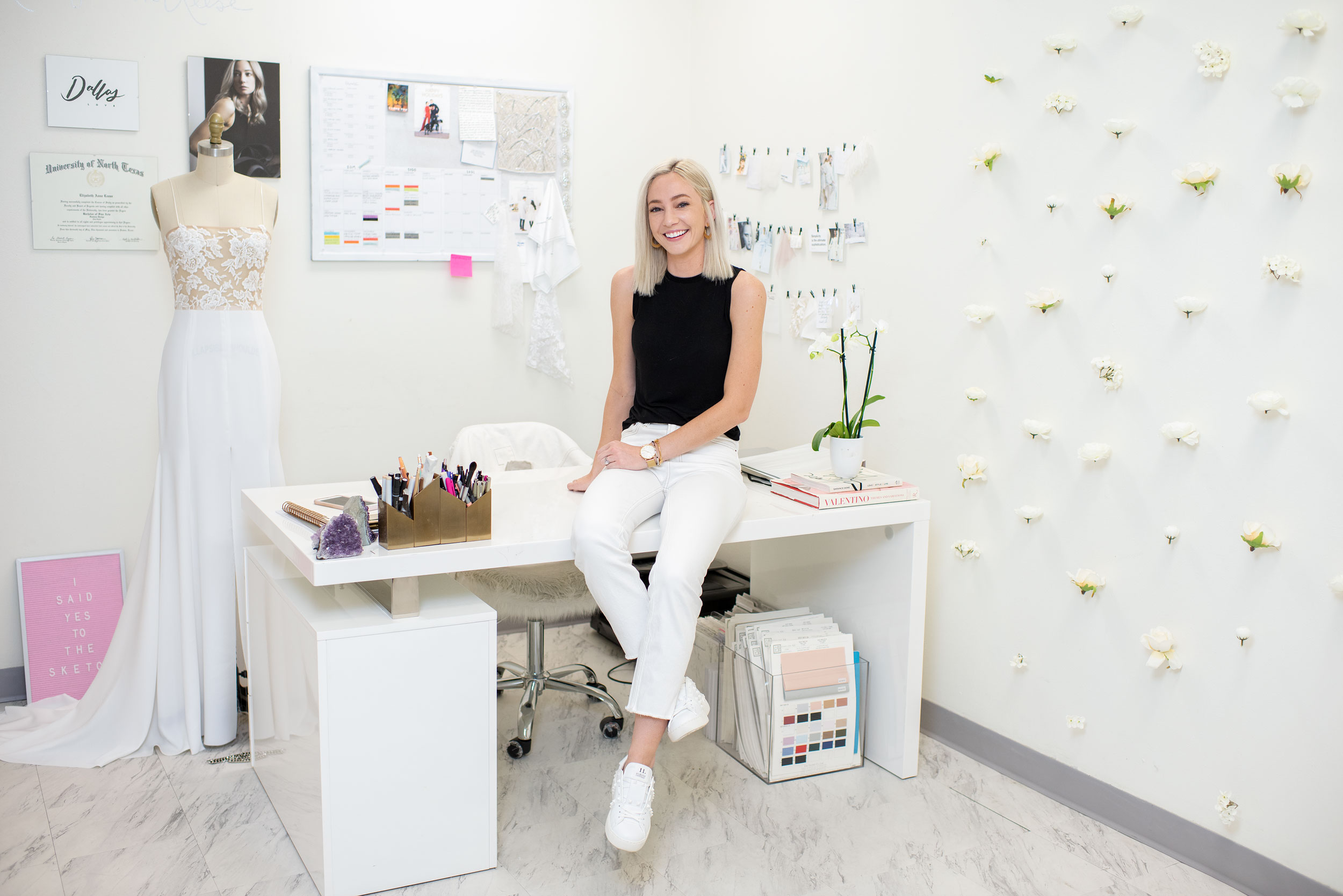 Elizabeth Leese in her office at Elizabeth Leese Bridal in Addison, which she opened in 2016.