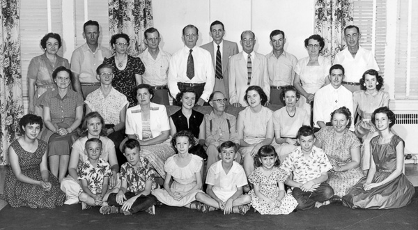 A Matthews family gathering for the wedding of Maydell Matthews and Sam Laney in Marquis Hall in June 1953.