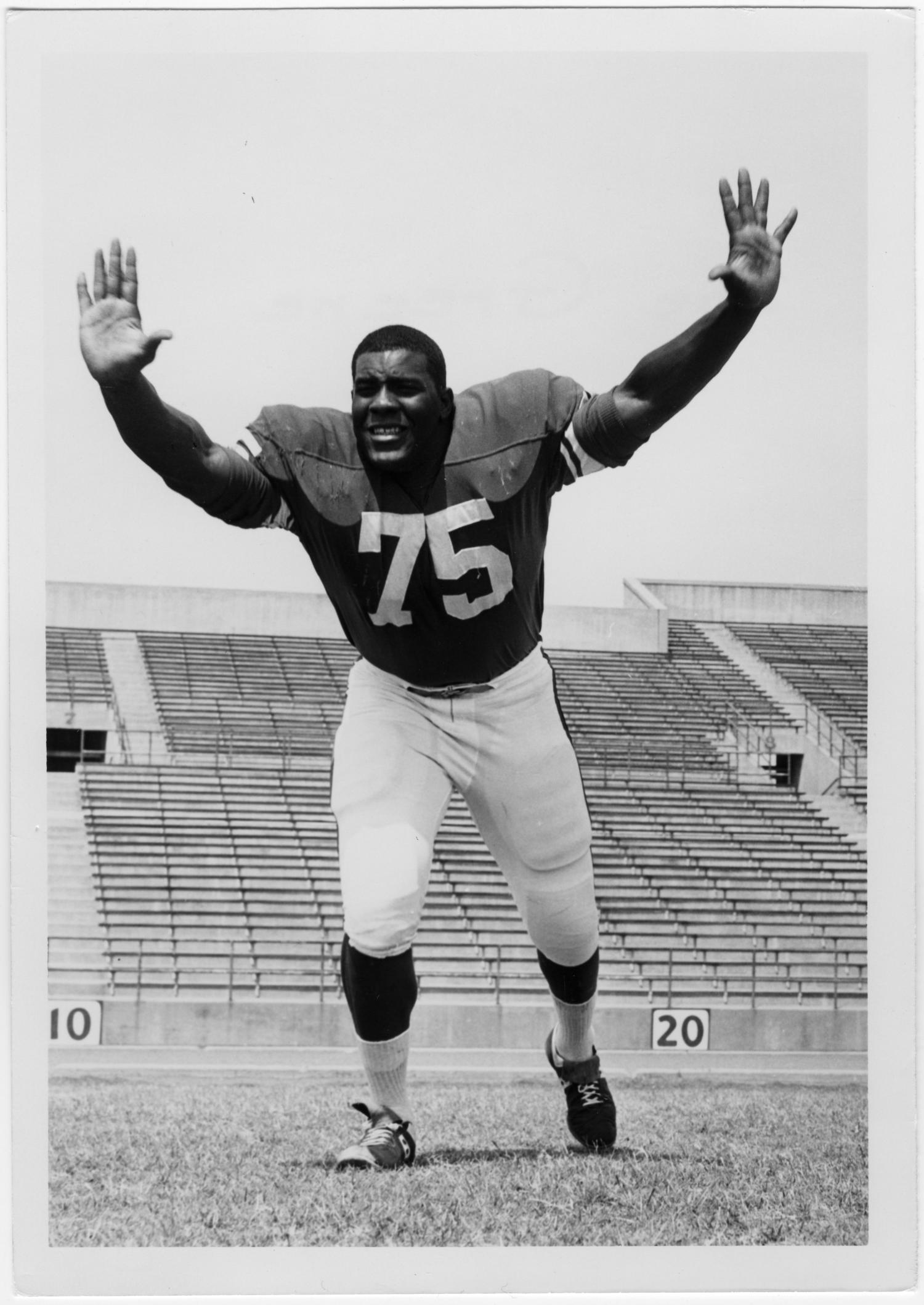 Joe Greene, when he was a member of the Mean Green football team. This photo was the inspiration for his statue at Apogee Stadium's Gate 2.