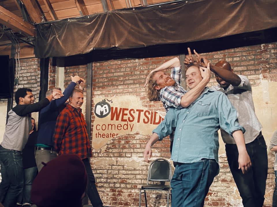 Landon Kirksey, middle right, at the Westside Comedy Theater