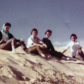 From left to right Anita Rambo Dunlap, Phyllis Wright Tate, Elaine Parker Boane and Julia Edwards Wilson at the Monahans Sandhills State Park near Midland in 1959.