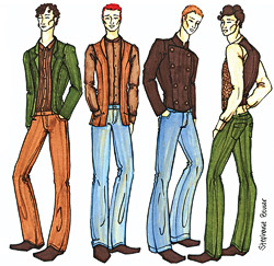 Illustrations of Stephanie Bower's menswear collection.