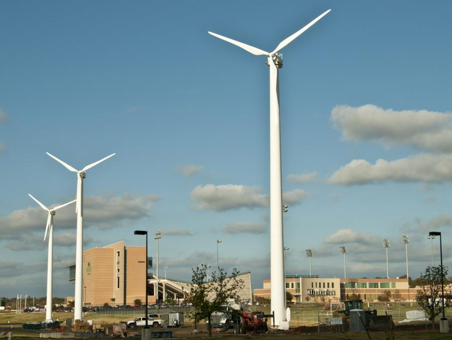<p>Wind turnbines at Apogee Stadium</p>