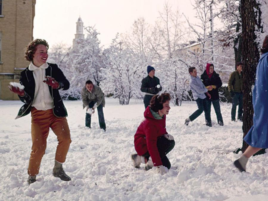 1963 - UNT students having fun at a snowball fight on campus