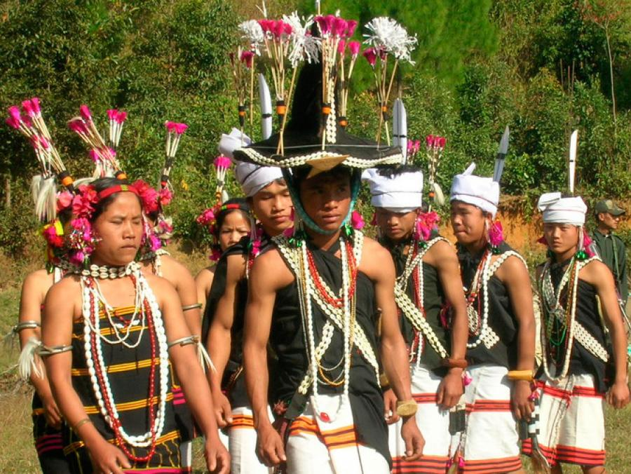 Lamkang villagers performance in traditional clothing