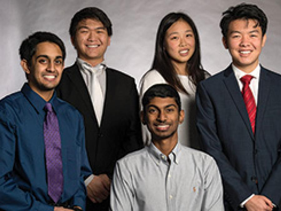 <p>Ashwin Kumar, Ted Zhao, Sarah Zou, Abhishek Mohan and Tan Yan (Photo by Ahna Hubnik)</p>