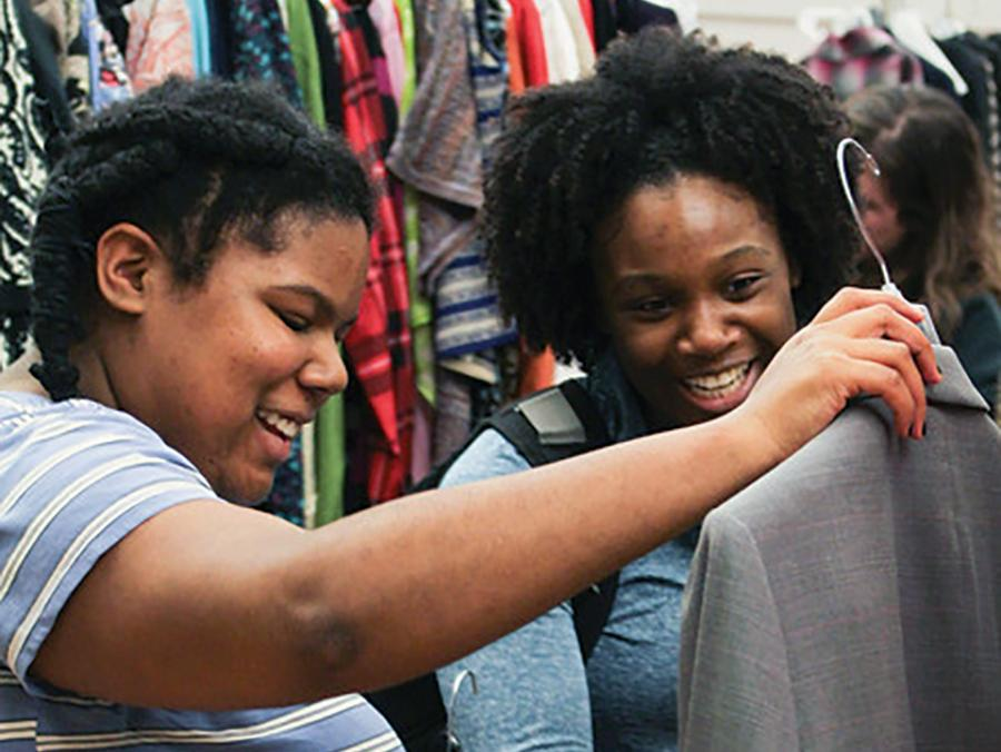 Students browsing clothes