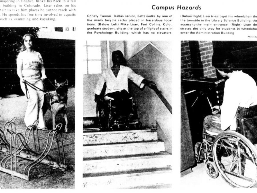 <p>Tom Hart's North Texas Daily story and photos, Nov. 5, 1975</p>