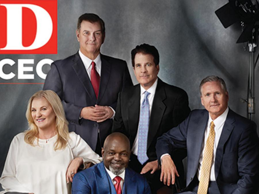 D CEO cover, Dallas 500, the most powerful business leaders in Dallas-Fort Worth. Front row from left: Melissa Reiff, Emmitt Smith Back: Mike Rawlings, Andrew Beal, G. Brint Ryan. Portrait by Elizabeth Lavin